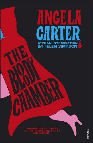 Cover illustration for The Bloody Chamber, featuring a graphic illustration of Red Riding Hood on a black background
