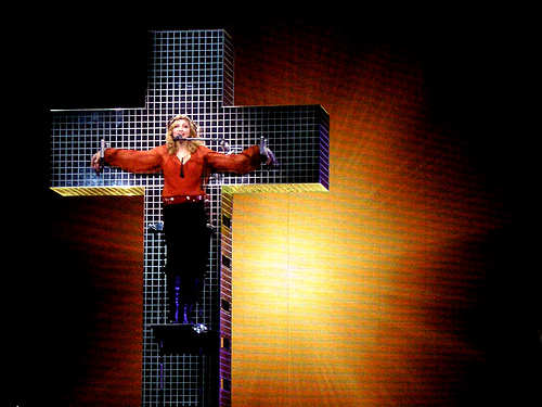 Madonna, on the cross and - unlike our Lord Jesus - not topless