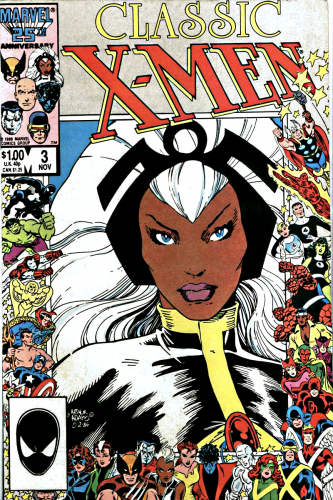 Classic X-Men Comic book cover with large image of Storm, a Black woman with white hair centered surrounded by the myriad Marvel characters.