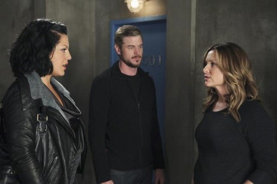 Doctors Torres, Sloane, and Robbins in the hallway; Torres is telling Dr. Robbins that she doesn't want her in her life.