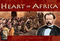 box for the board game Heart of Africa, which is written in yellow on a red background. A white man in a tuxedo and glasses is pictured in front of a group of black people in robes