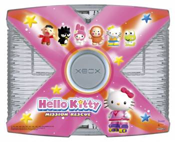Hello Kitty Console: pink and gray gaming box with Hello Kitty characters on it