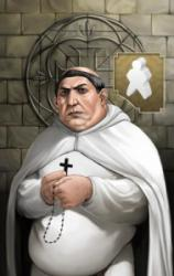 Illustration of the priest in Vasco Da Gama, wearing white