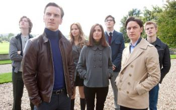 X-Men: First Class: the cast of the film--seven white people--stand outside looking off into the distance