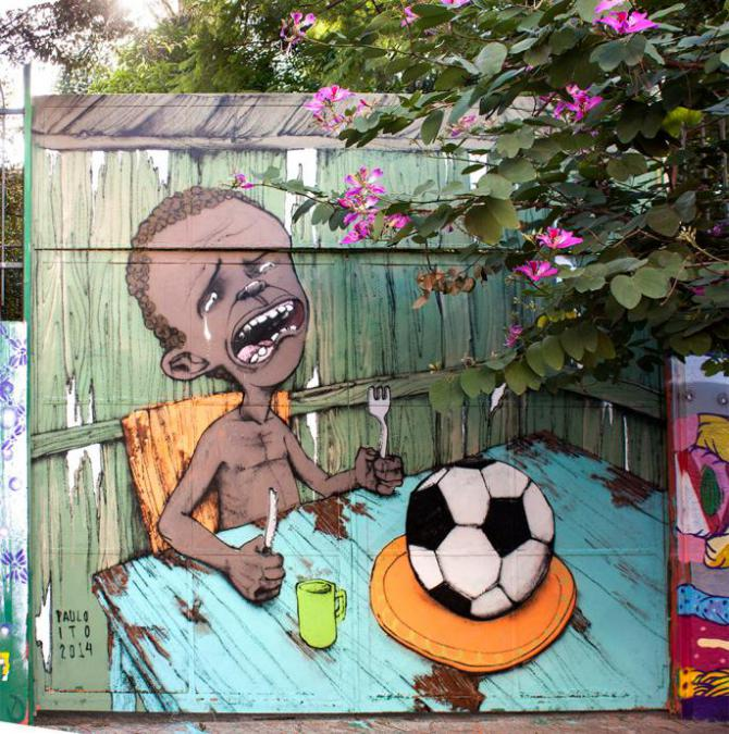 A hungry Brazilian child cries, with nothing in front of him to eat but a soccer ball.