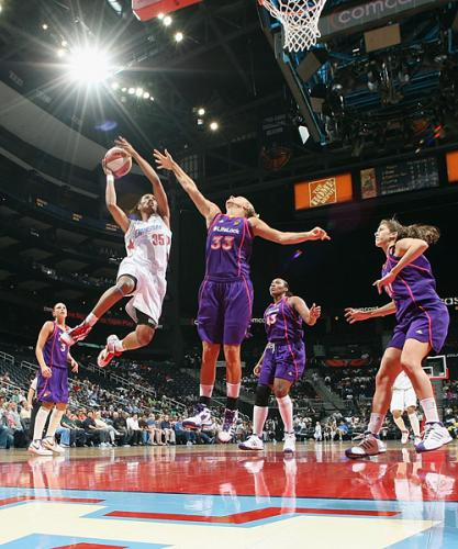 #35 for the Atlanta Dream goes for the basket in a WNBA game