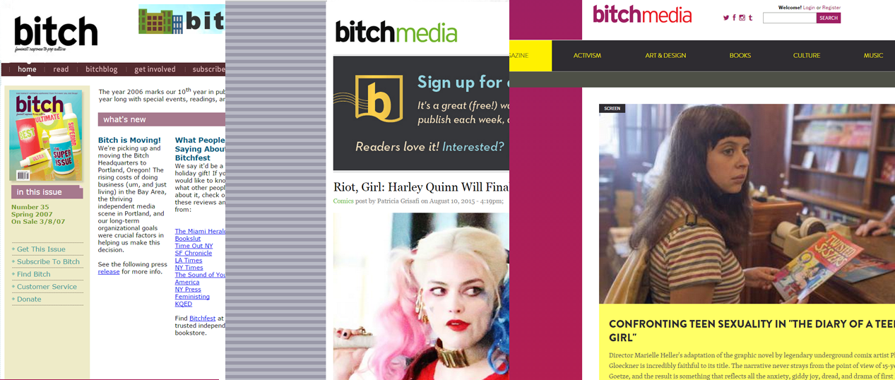 A screenshot of the website in 2007, 2014, and the new site.